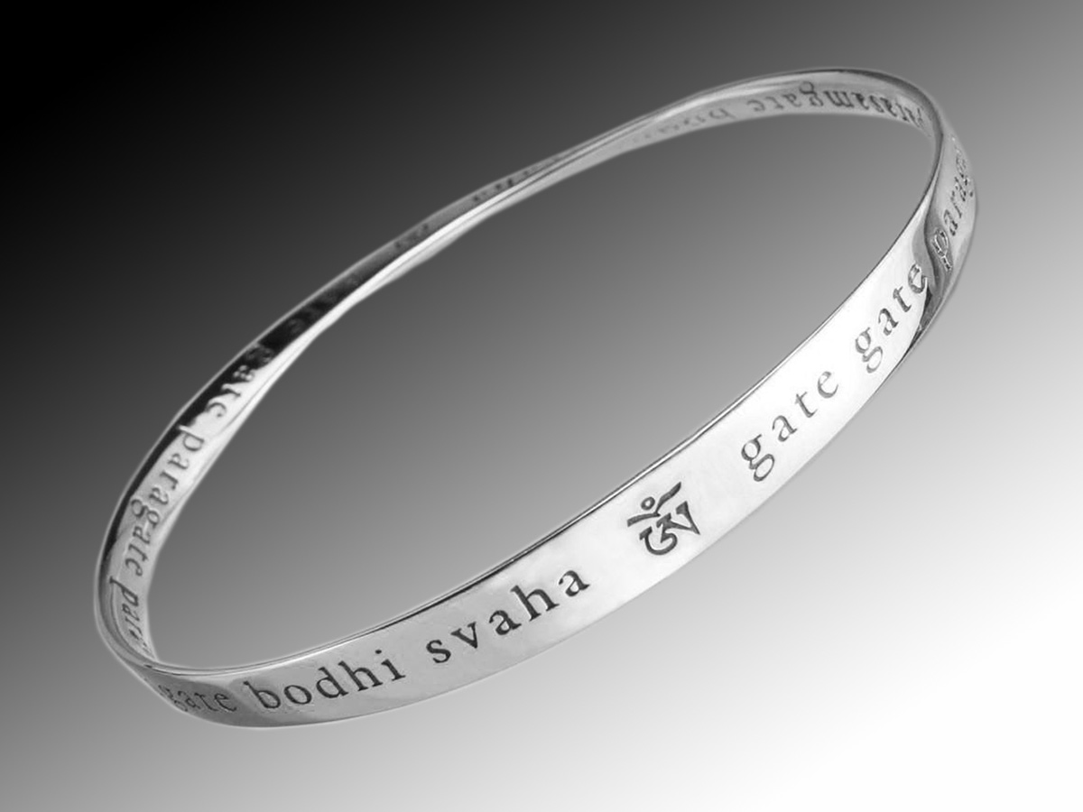 Heart Sutra Mantra Mobius Strip Bracelet In Sterling Silver