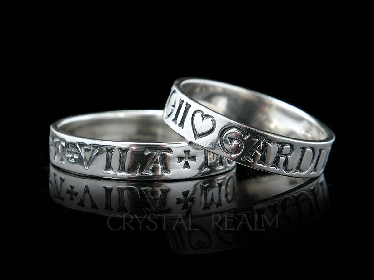 sterling silver french poesy ring here is my heart