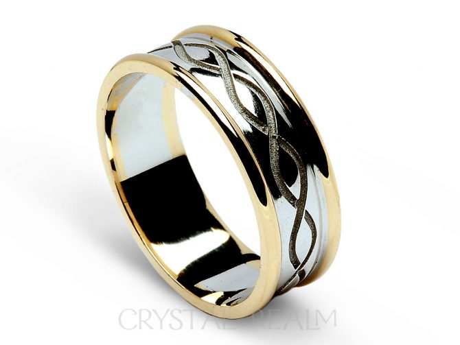 Irish celtic weave wedding band in 14k white and yellow gold