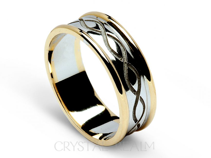 Celtic Wedding Bands Recessed Weave Knot With Trim 14k White Gold Yellow