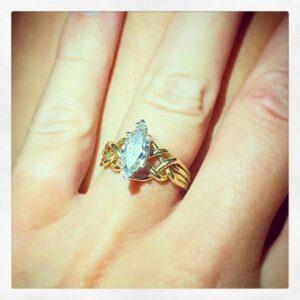 One carat range marquise diamond puzzle ring