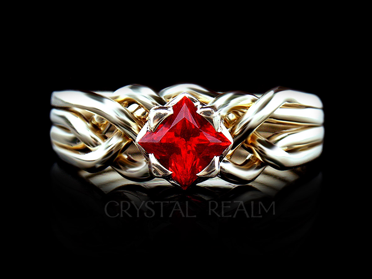 4 piece puzzle ring in 14k yellow gold with princess cut lab-created ruby