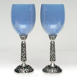 Blue communion goblet or wine glass with Celtic knotwork stem