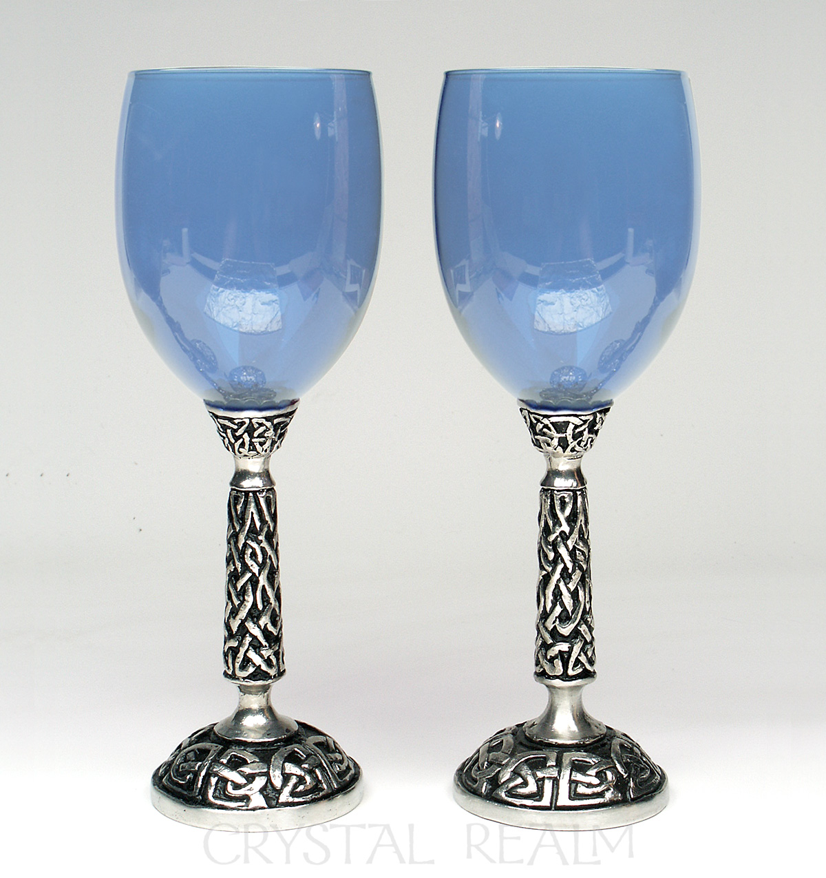 Blue communion goblet or wine glass with Celtic knotwork stem