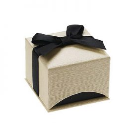 linen cream colored single ring box together med 1