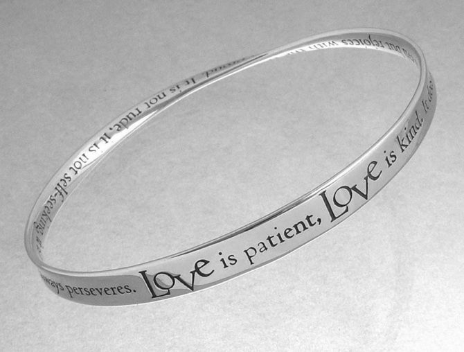 Sterling Silver Bracelets - Love is Patient Mobius Strip Bangle