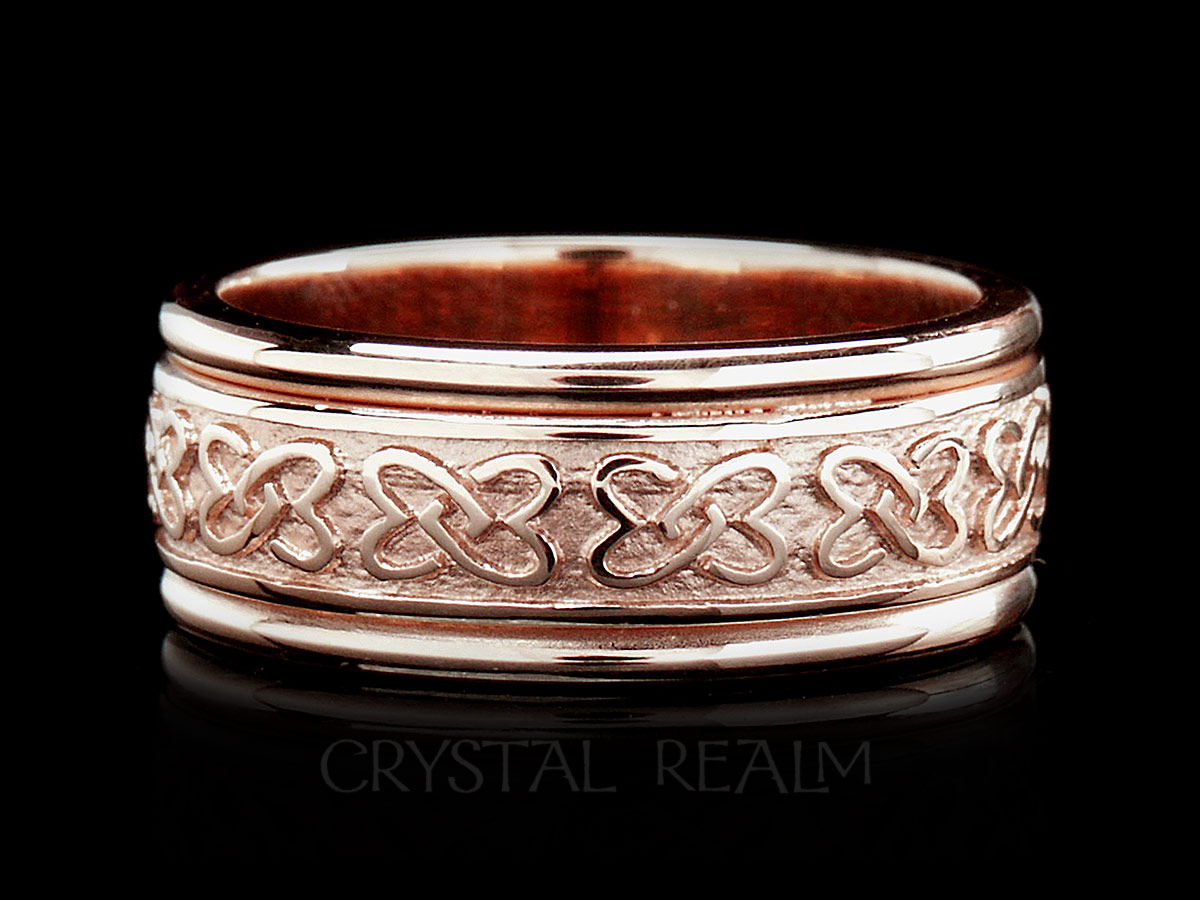 Celtic Wedding Band Double Love Knots 14k Rose Gold