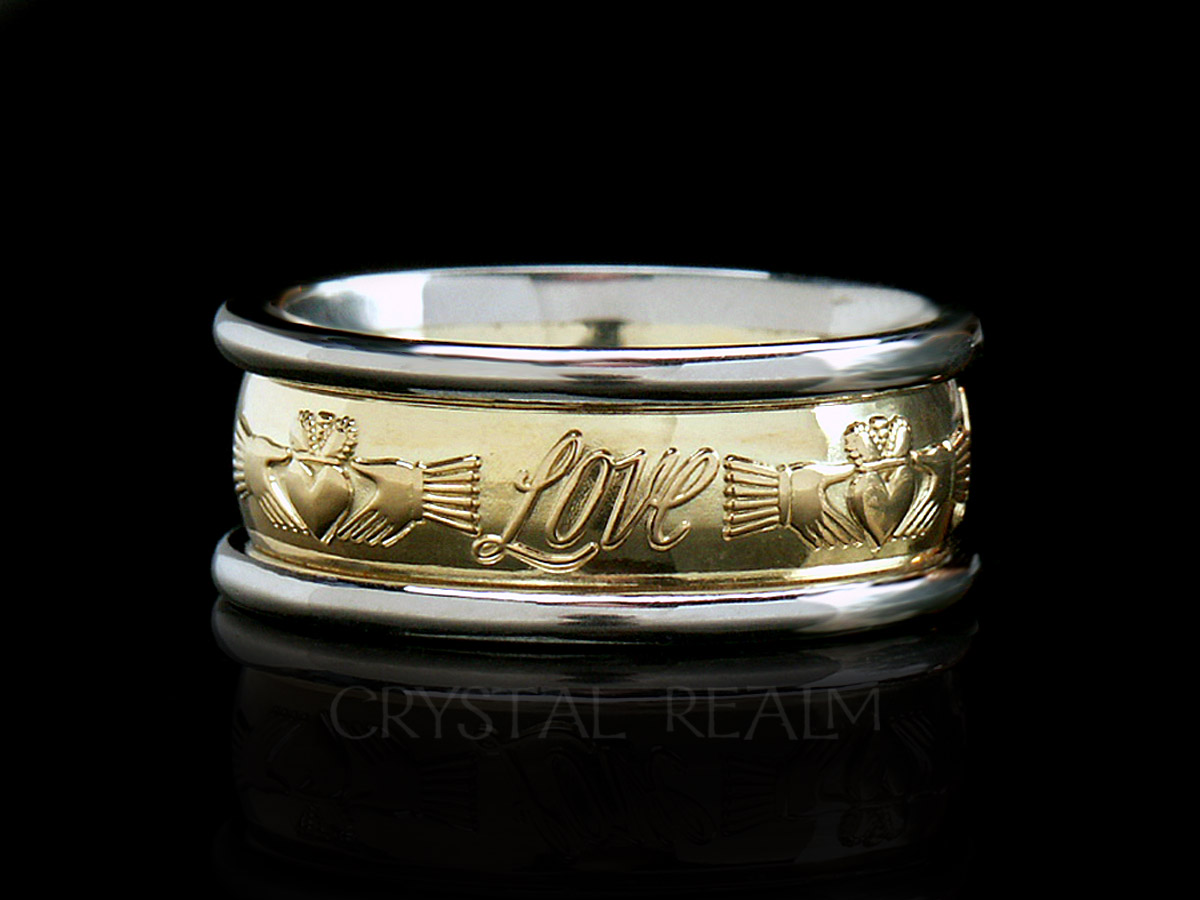 Friendship Love Loyalty Claddagh Band Puzzle Rings Engagement