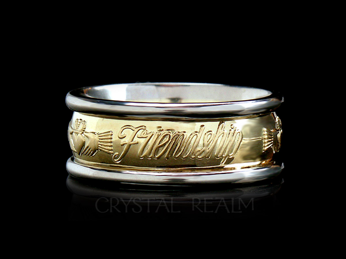 Claddagh band with love, loyalty, and friendship in raised letters