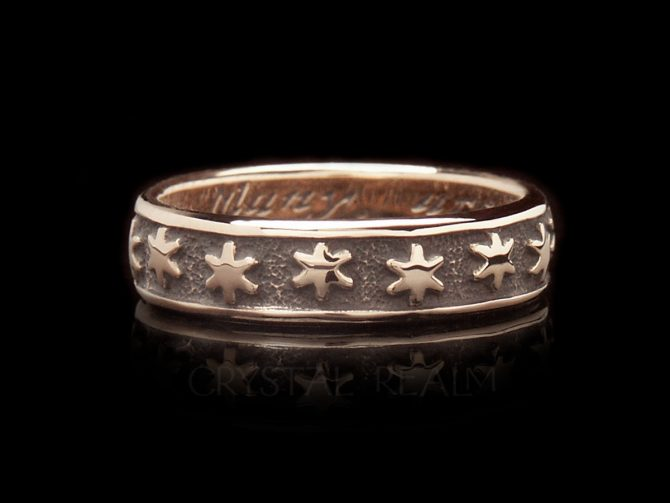 Many are the Starrs I See, Traditional English Posy Ring, 14K Rose Gold