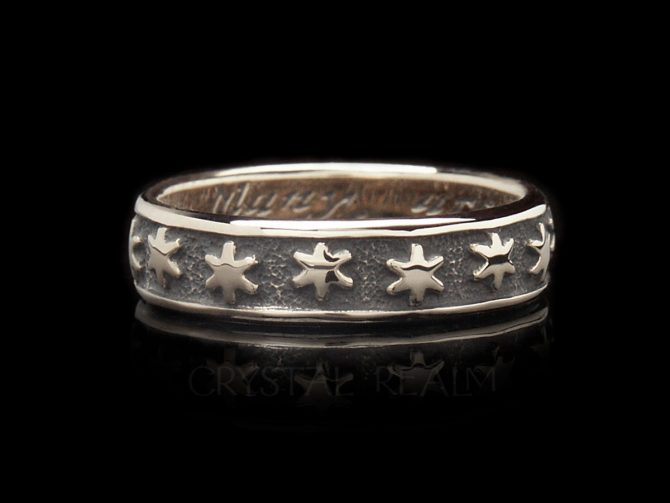 Many are The Starrs I See, Traditional English Posy Ring in 14K White Gold