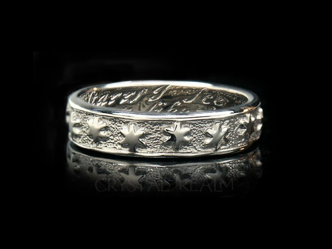 Many are the Starrs I See, Traditional English Posy Ring, 14K White Gold, No Antiquing
