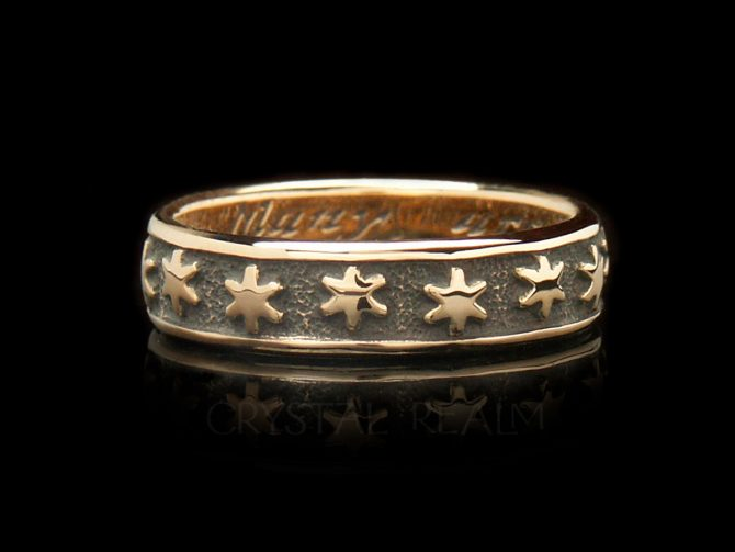 'Many are the Starrs I See,' Traditional English Posy Ring, 14K Yellow Gold