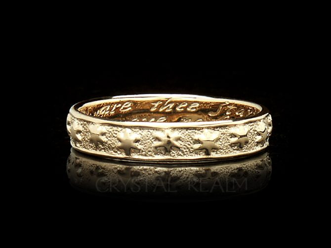 'Many are the Starrs I See,' Traditional English Posy Ring in 14K Yellow Gold, No Antiquing
