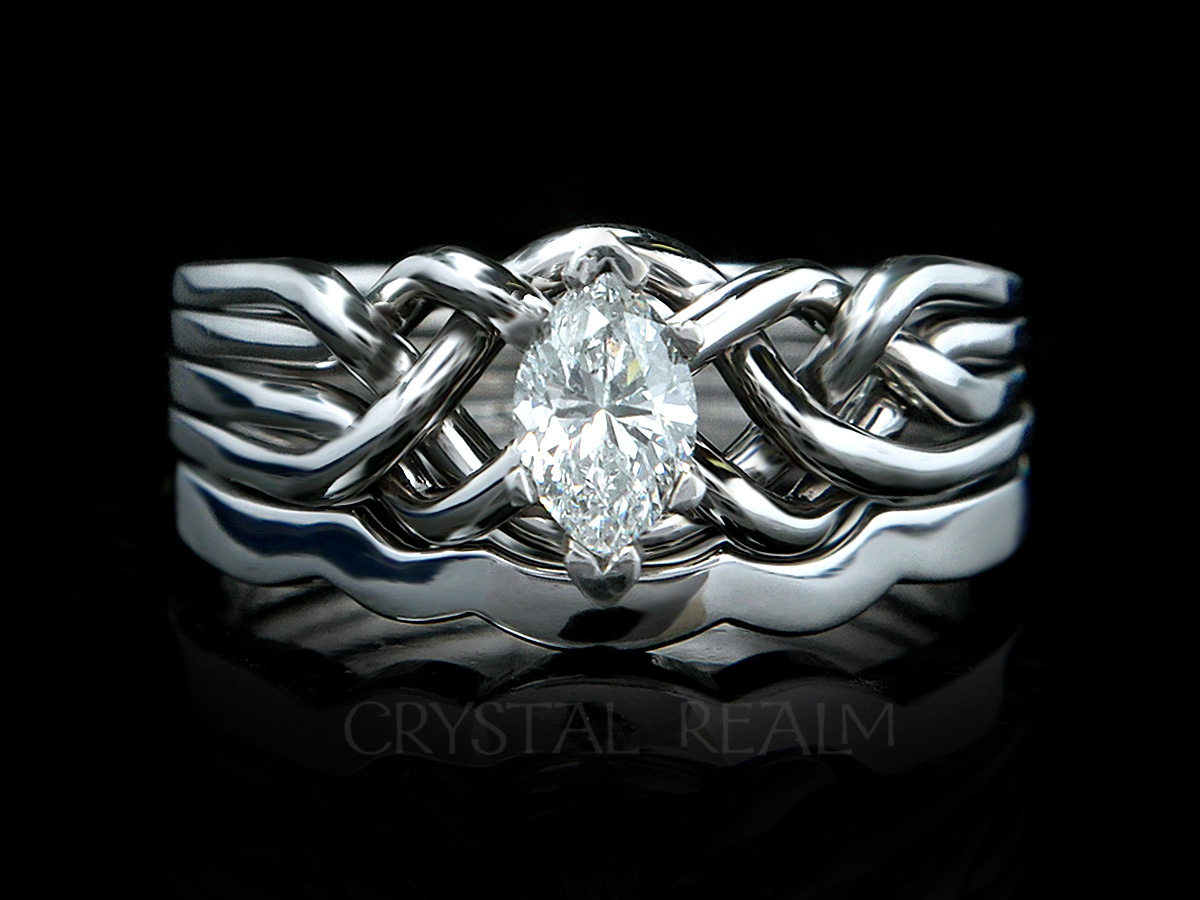 ct bands bridal engagement cz jewelry sterlingsilver ring sm marquise diamond arc set bling ringset sterling wedding silver