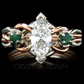 Marquise diamond open-weave engagement puzzle ring with side emeralds shown in platinum and 14K rose gold