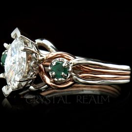 Marquise Royale Diamond Puzzle Ring with Accent Emeralds in 14K Rose Gold and Platinum