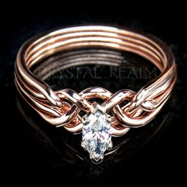Marquise Diamond Puzzle Ring with Standard Weave in 14K Rose Gold