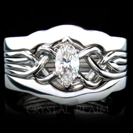 Marquise Diamond Puzzle Ring with 2mm Shadow Ring Guard