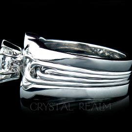 Marquise Diamond Puzzle Ring with 2mm Shadow Ring Guard in Platinum
