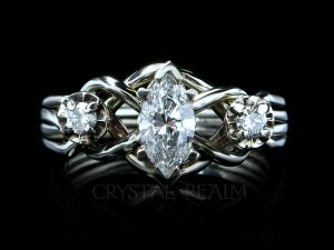 three diamond puzzle engagement ring in palladium