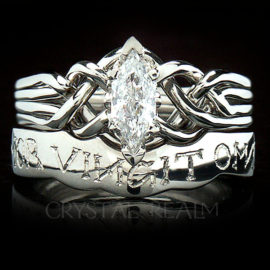 "Marquise Diamond Puzzle Ring with Custom-Engraved ""Love Conquers All"" Posy Ring, Platinum"