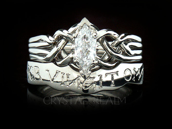 "Marquise Diamond Puzzle Ring with Hand-Engraved ""Love Conquers All"" Posy Ring"