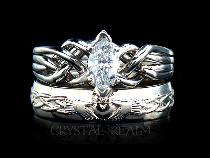 Marquise diamond four band puzzle ring with Celtic claddagh band