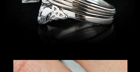four piece puzzle ring with marquise diamond and custom fit claddagh wedding ring