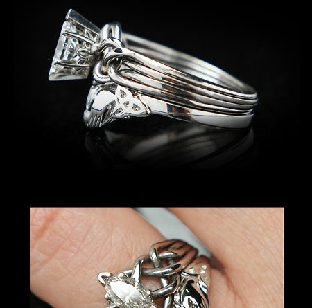 Celtic Bridal Set New Claddagh Shadow Band With Marquise Diamond