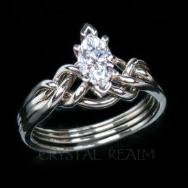 Marquise Moissanite Puzzle Ring with Your Choice of Gemstone Size and Weave