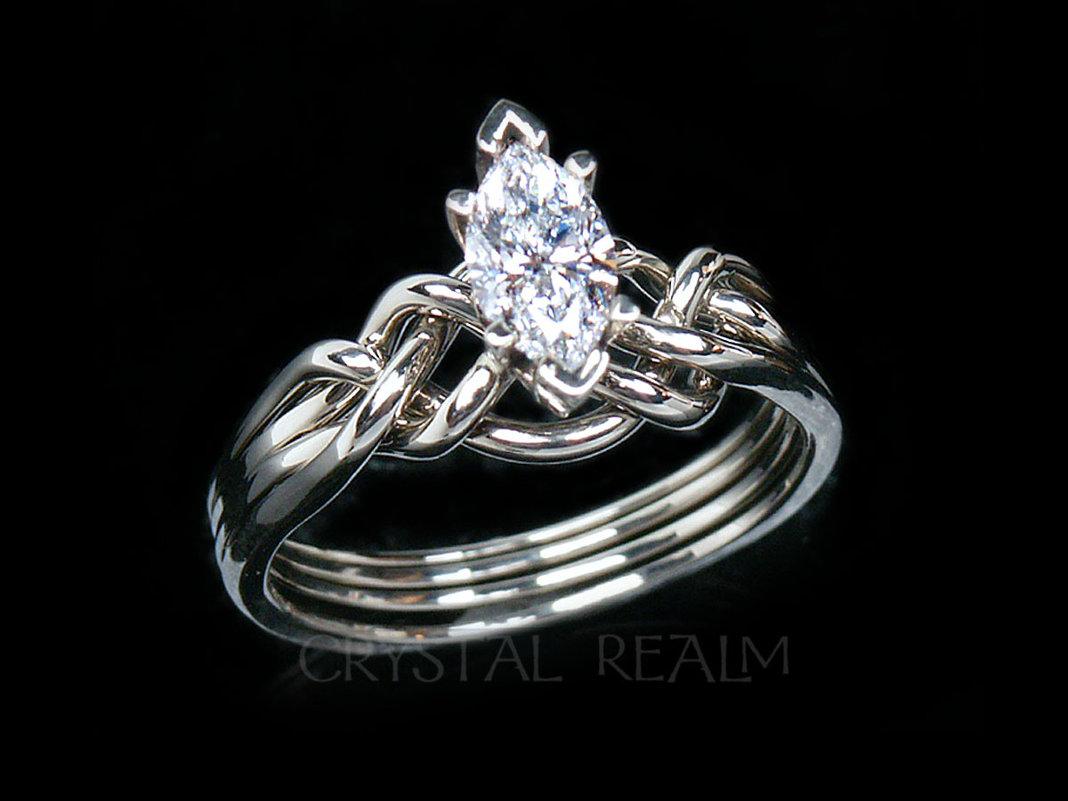 Marquise Diamond Puzzle Ring With Standard Weave Puzzle Rings