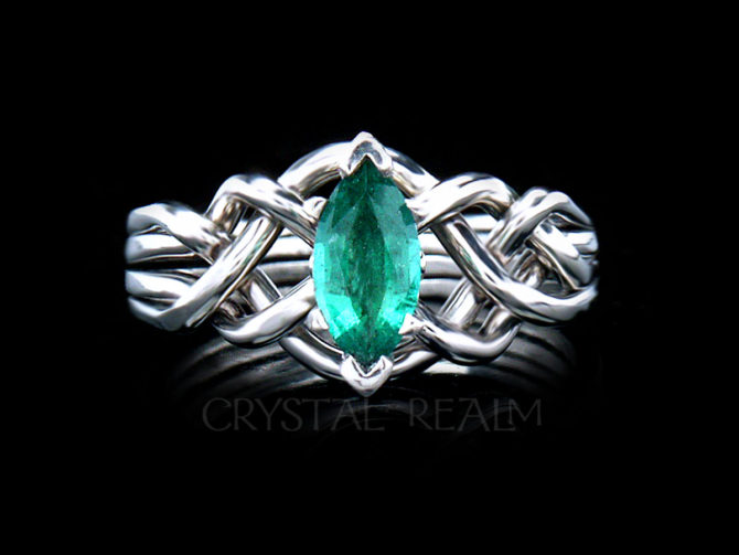 3/4CT Marquise Emerald Engagement Puzzle Ring