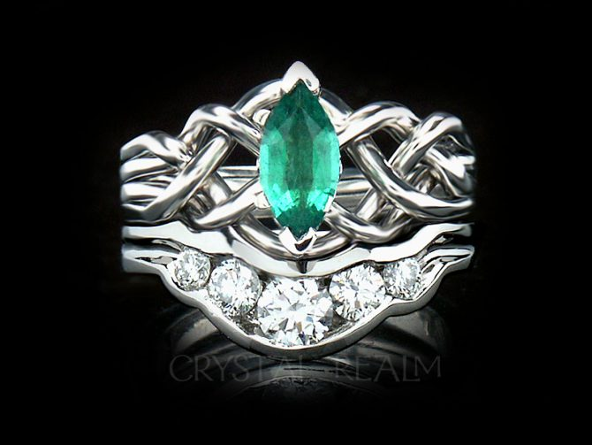 Celtic Engagement Ring and Bridal Set: Marquise Emerald Puzzle Ring with Diamond Shadow Band