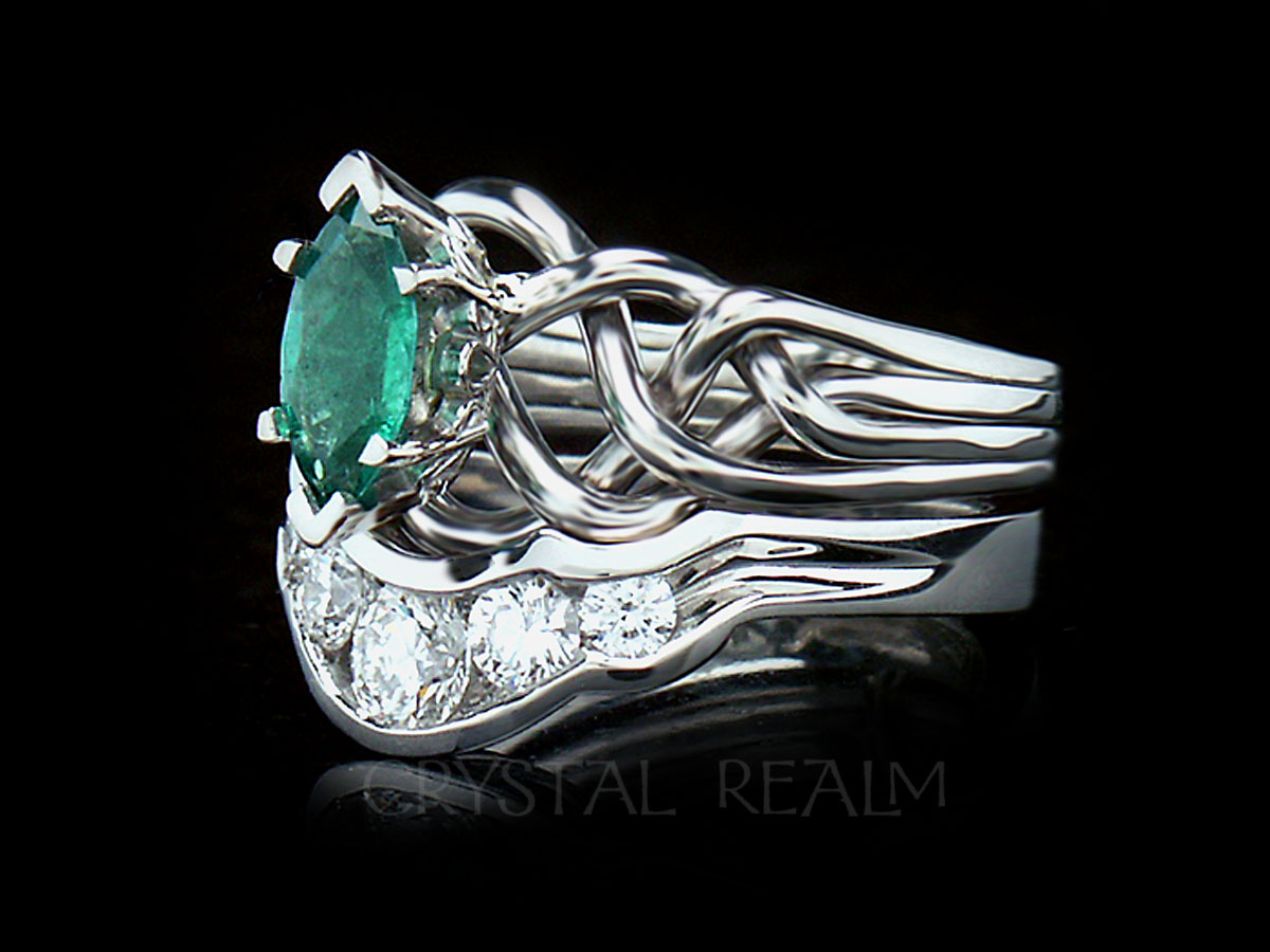ede0c0523b47e Celtic Engagement Ring and Bridal Set: Marquise Emerald Puzzle Ring with  Diamond Shadow Band
