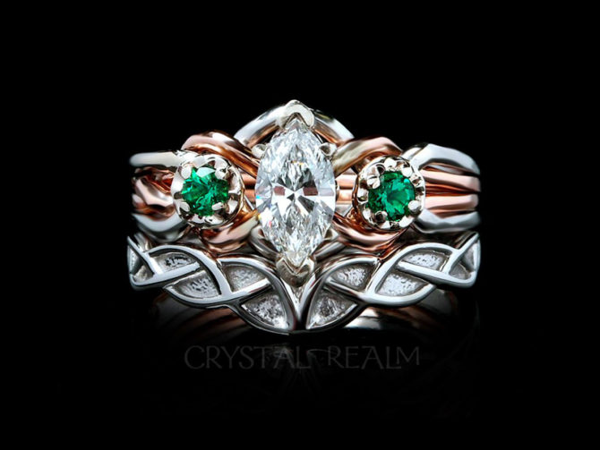 Celtic bridal set with a marquise diamond and emerald puzzle ring and a Celtic wedding band