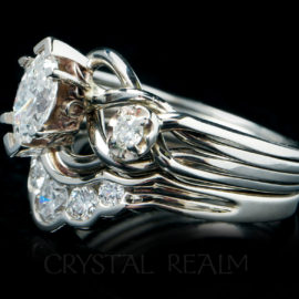 Marquise royale puzzle ring with 0.50CT tcw and a 0.32CT diamond shadow band