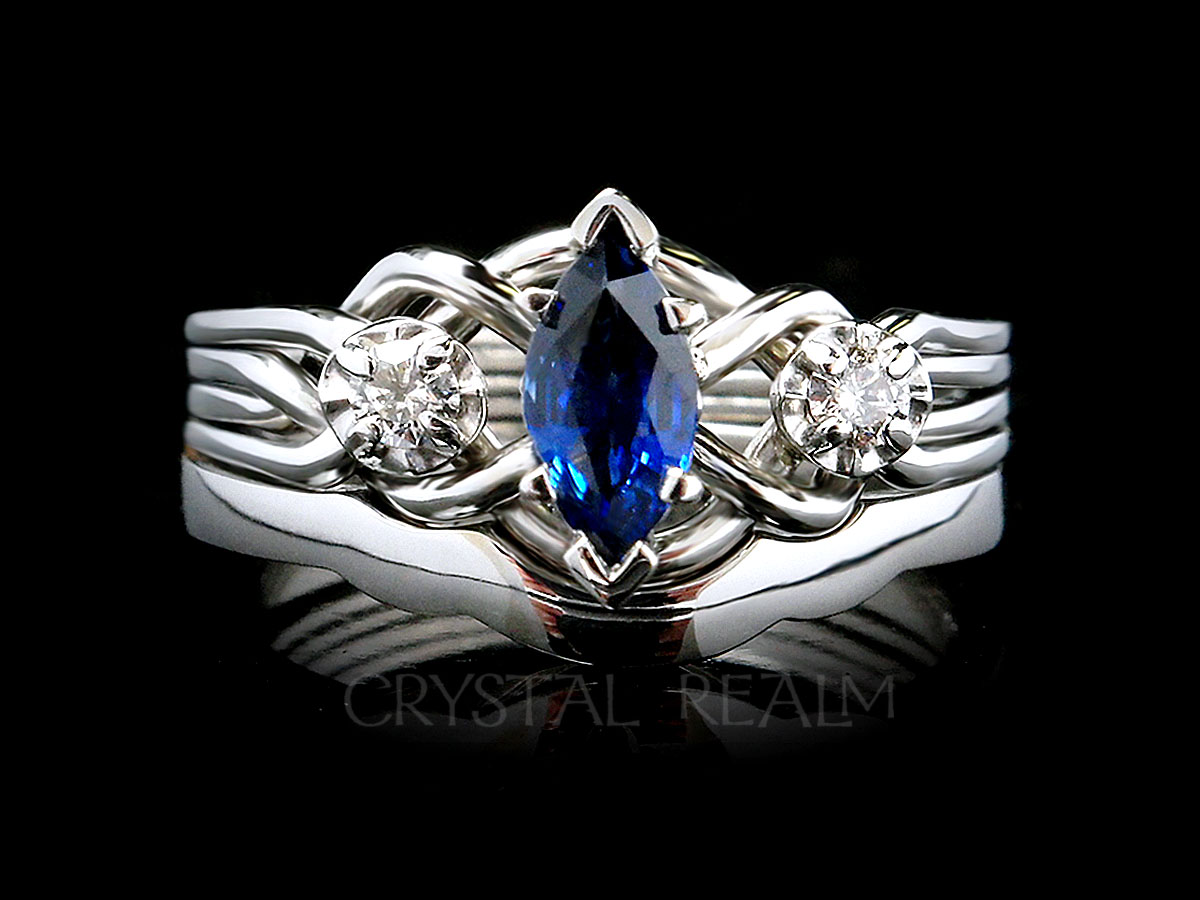 Marquise sapphire and diamond bridal set with four band puzzle ring and 2mm shadow band