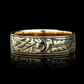 'My Heart, My Soul, My Spirit,' German Traditional Posy Ring, 14K Yellow Gold