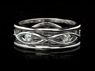 celtic wedding ring with diamonds set in platinum
