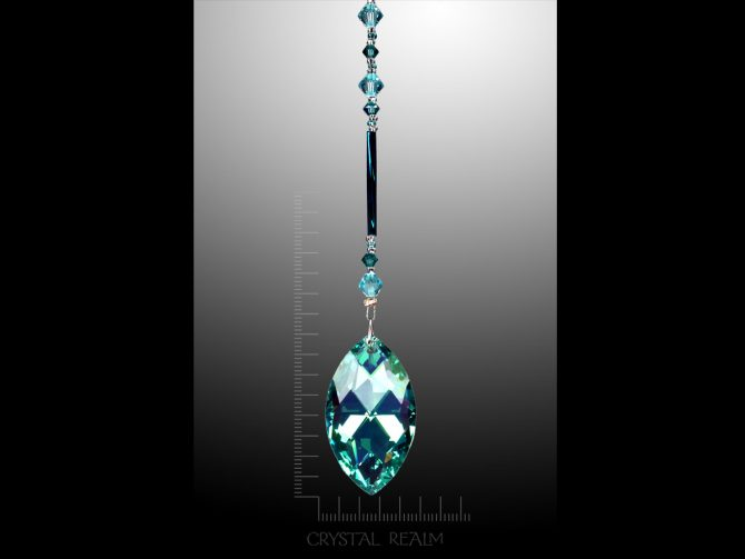 Swarovski Crystals - Green AB Pointed Pear Crystal Suncatcher