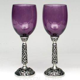 Purple communion goblet or wine glass with Celtic knotwork stem
