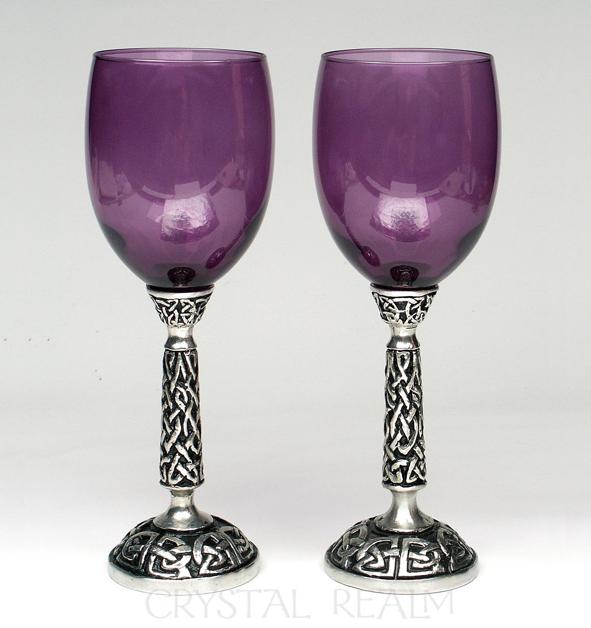 Purple communion goblet or wine glass with Celtic knotwork stem