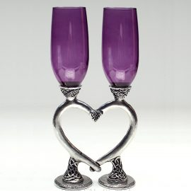 purple smooth celtic heart toasting glasses ko08