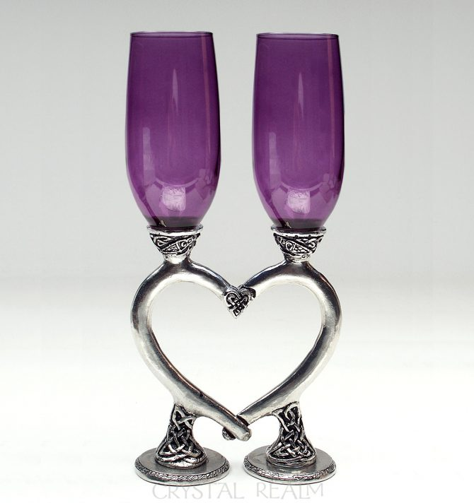 Amethyst Purple Smooth Celtic Heart Champagne Glasses
