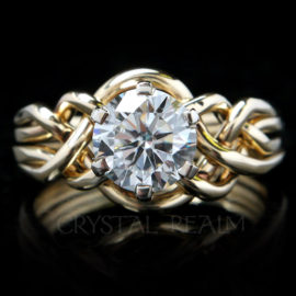 four band puzzle ring with two carat moissanite in 14k yellow gold with open weave