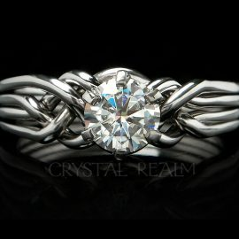 Athena Diamond Puzzle Ring with 6/10ths Carat Round Diamond in Platinum