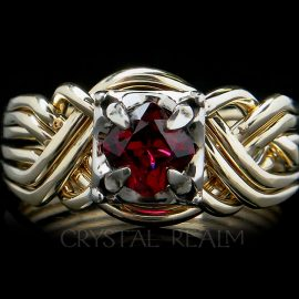 6 piece puzzle ring with cushion cut anthill garnet and 14k yellow and white gold