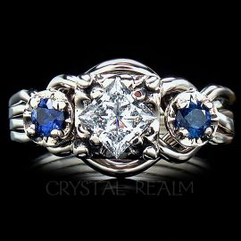puzzle engagement ring pt50dia side sapphires 1
