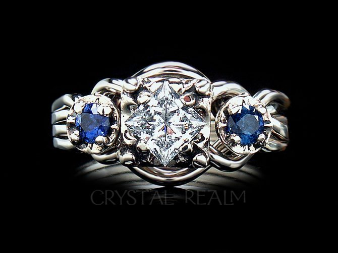 Guinevere Royale Puzzle Ring with Princess-Cut Diamond and 5-pt Sapphire Accents